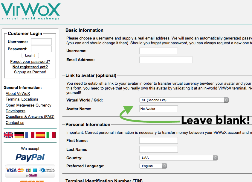 VirWox log in
