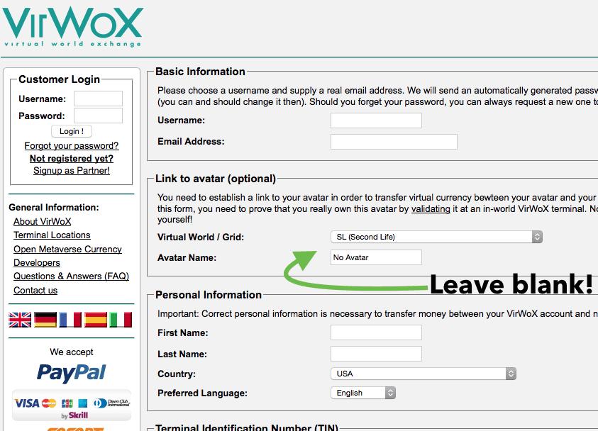 VirWox log in