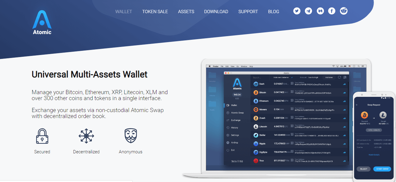Atomic Multi Cryptocurrency Wallet
