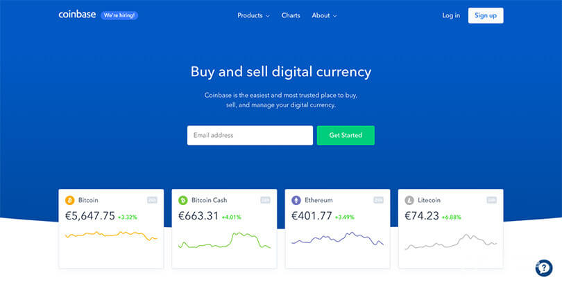 Buy cryptocurrency with Coinbase