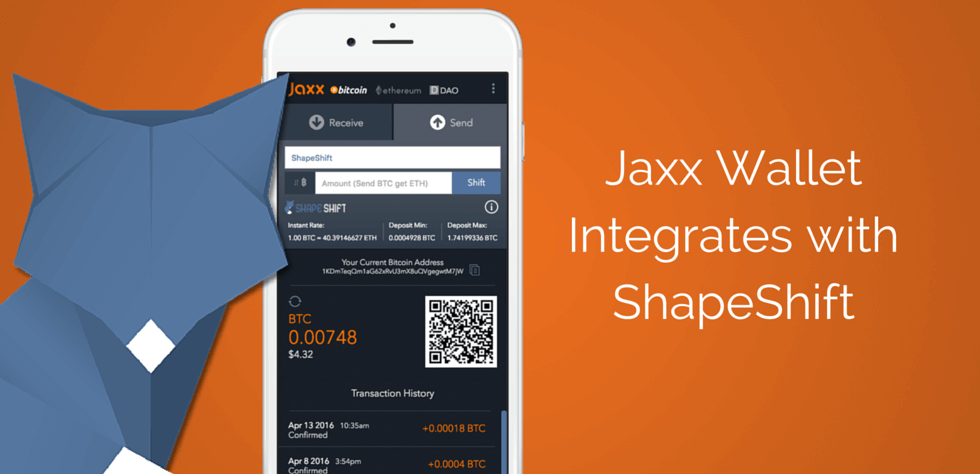 Storing cryptocurrency with jaxx