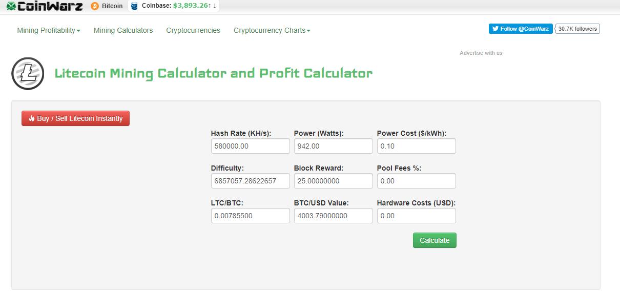 Litecoin Miner calculator