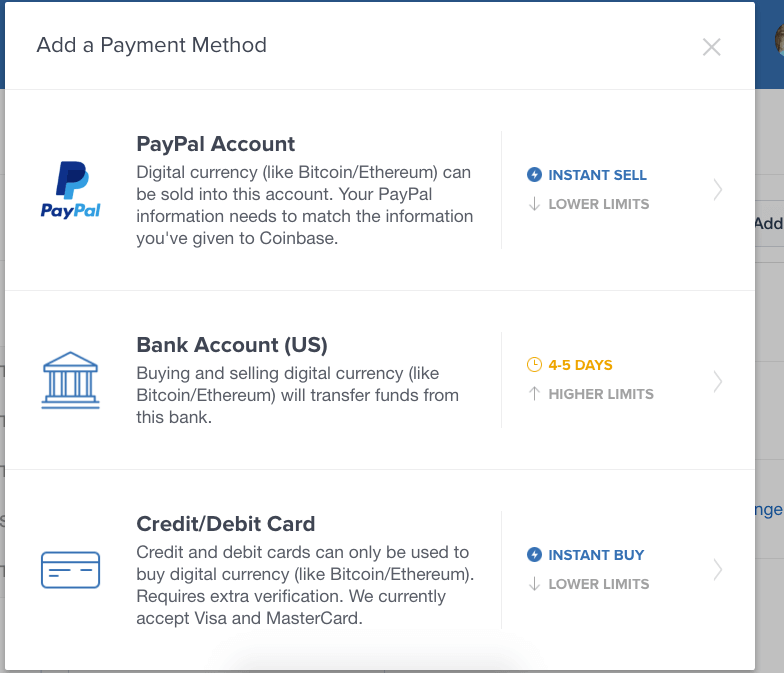 payment method in Coinbase 2