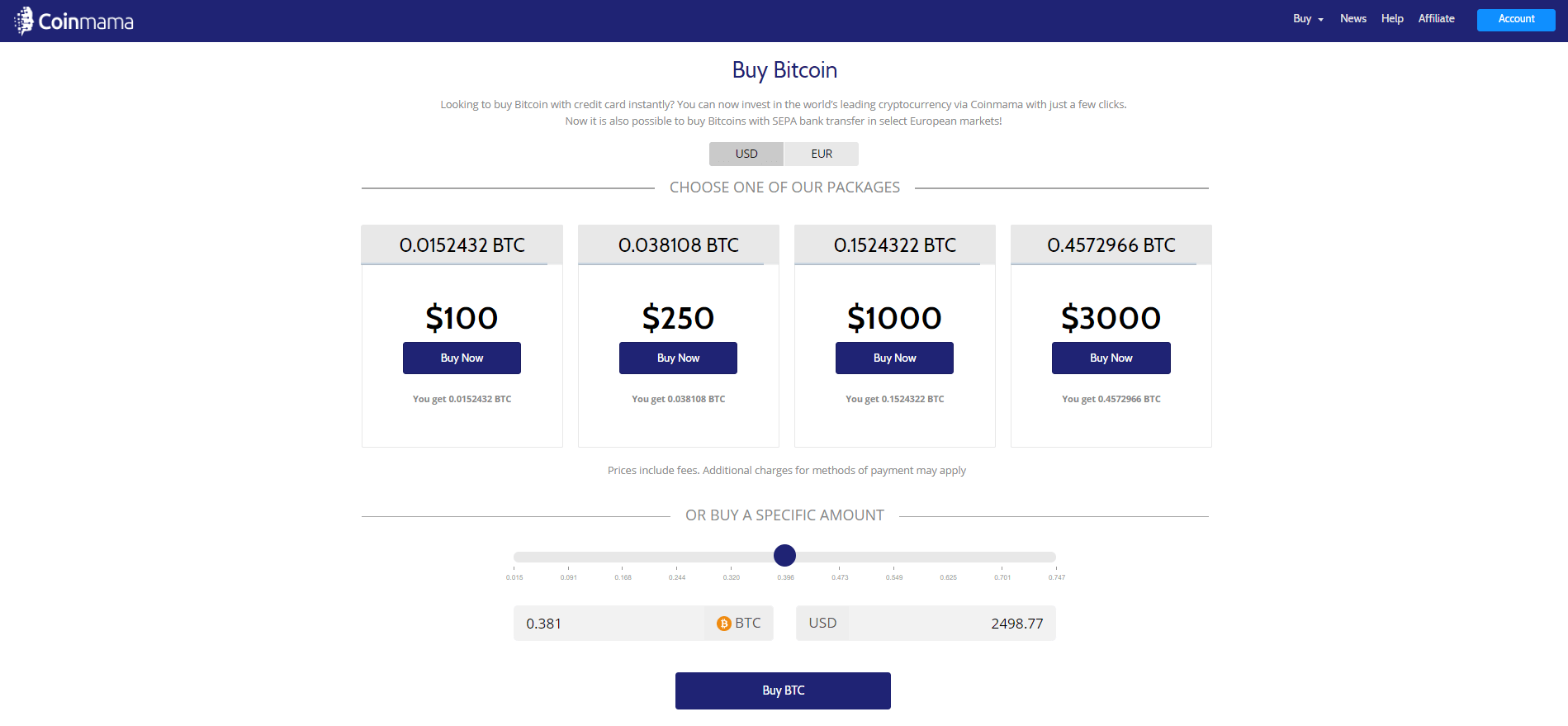 select amount (coinmama)