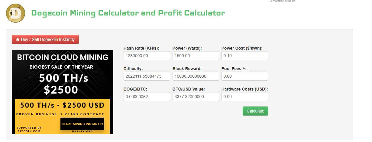 Dogecoin profitability calculator