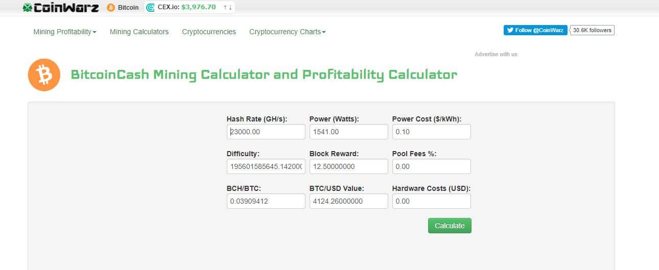 bitcoin cash mining calculator